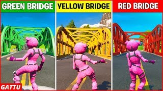 Dance at the Green Steel Bridge, the Yellow Steel Bridge, and the Red Steel Bridge Location Fortnite