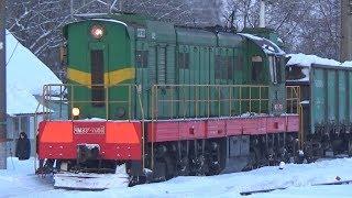Тепловоз ЧМЭ3Т-7050 с маневровым грузовым поездом, станция Люберцы 2