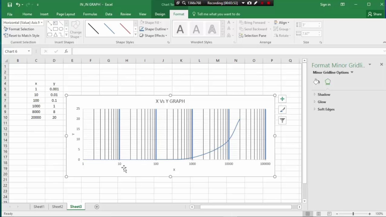 MS EXCEL CLASS 9   HOW TO SEMI-LOG GRAPH PLOT BY MS CXCEL