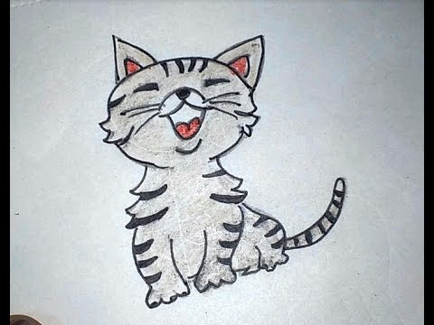 How To Draw A Cute Cartoon Cat Easy Cat For Kids To Draw Step By