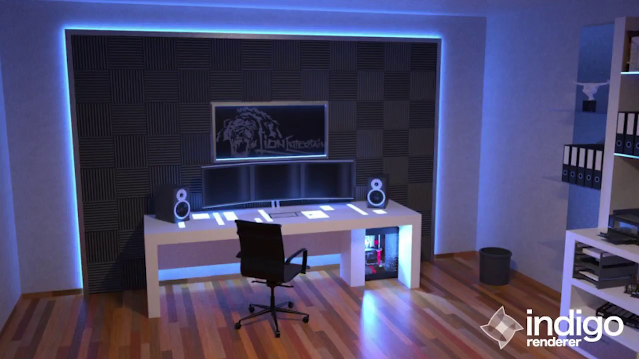 Dream Office / Gaming Room With RGB Led ´s And Foam Acoustic Tiles