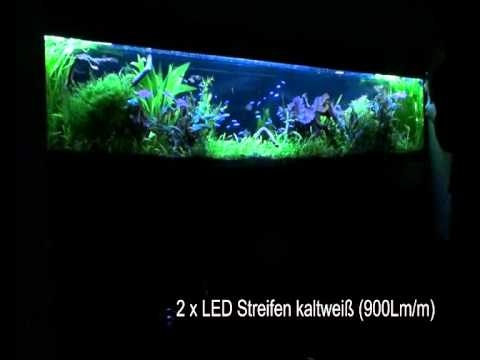 wandaquarium 2 40 meter mit led streifen beleuchten youtube. Black Bedroom Furniture Sets. Home Design Ideas