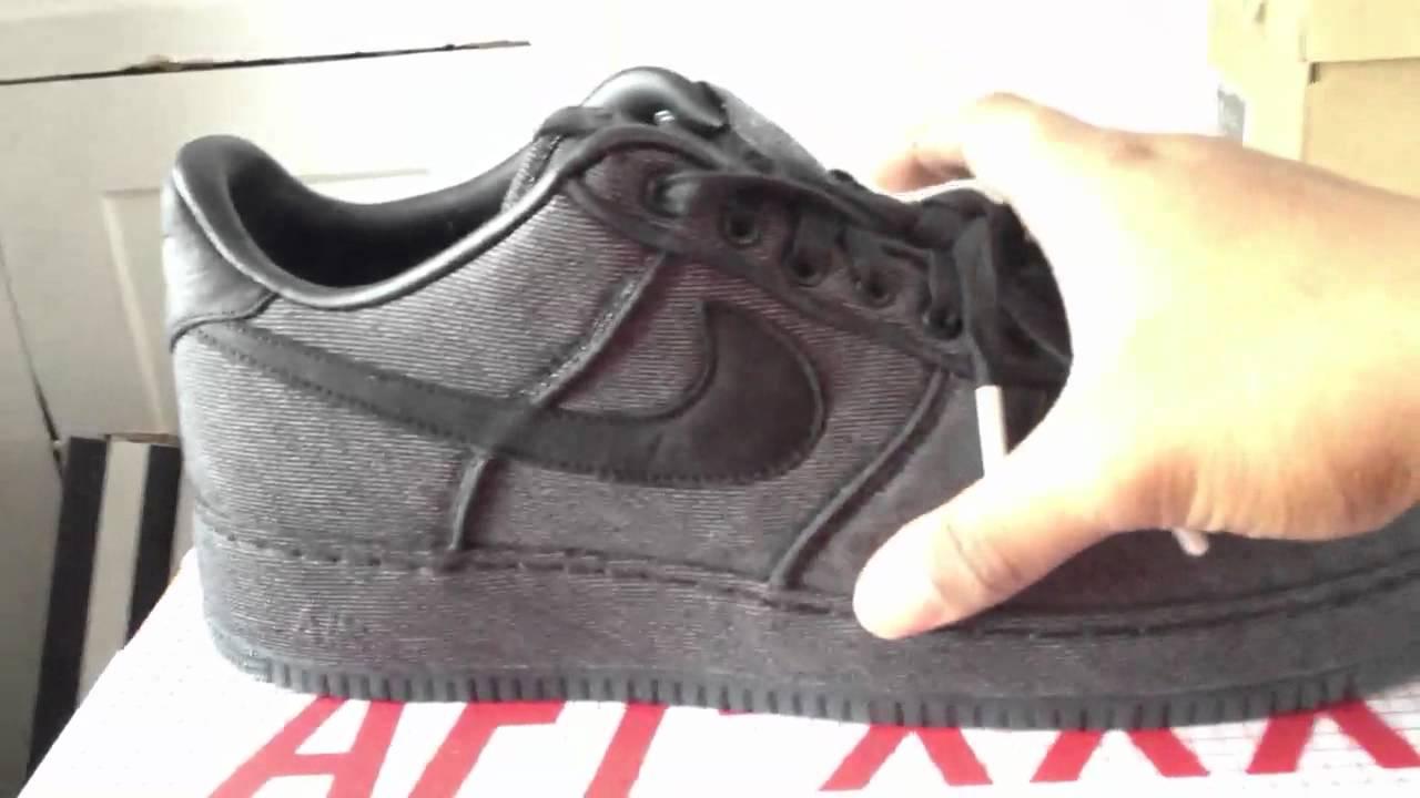 2f4fc007e0c611 Nike Air Force 1 Black Denim QS-30th Anniversary Pearl Coll - YouTube
