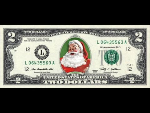 Colorized SANTA CLAUS On REAL $2 Dollar Bill Cash Money Collectible Merry Christmas