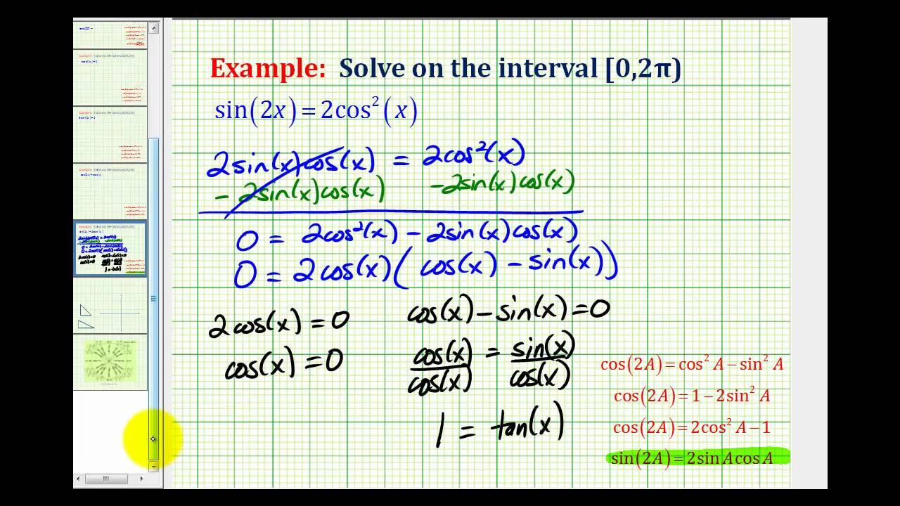 Example 2: Solve a Trig Equation Using a Double Angle Identity
