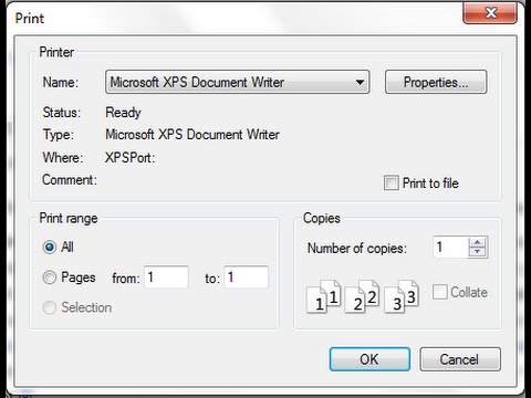 XPS document writer format for Printing