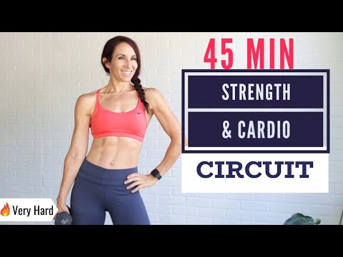 ��FAT BURNING 45 MIN FULL BODY Workout | Strength & HIIT Cardio circuit | At-home workout w/ weights