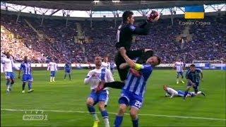 Страшная травма Гусева в матче Днепр - Динамо(Игрок киевского