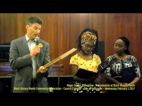 HiMY SYeD - Mayor Gregor Robertson, Proclamation of Black History Month, Vancouver City Hall, 2/1/17