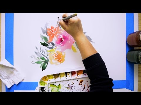 how to paint a large watercolor floral painting youtube