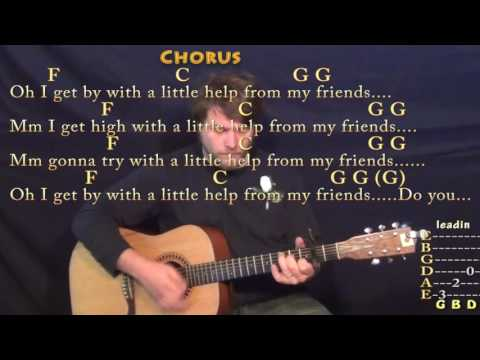 With A Little Help From My Friends (Joe Cocker) Guitar Lesson Chord Chart - Capo 2nd