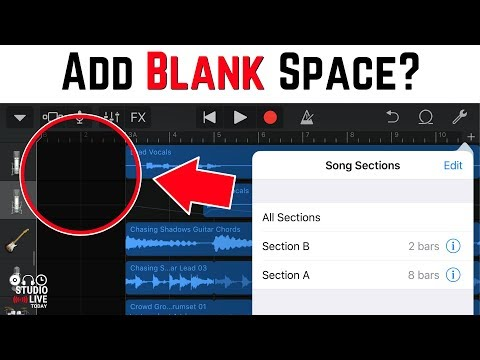 Add bars to beginning of a song in GarageBand iOS (iPhone/iPad)