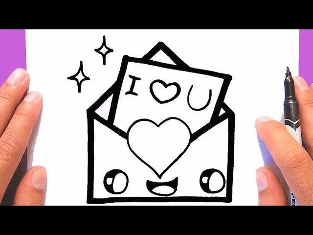 How To Draw A Cute Love Envelope Supper Easy Draw For Valentine S Day Draw Cute Things Youtube