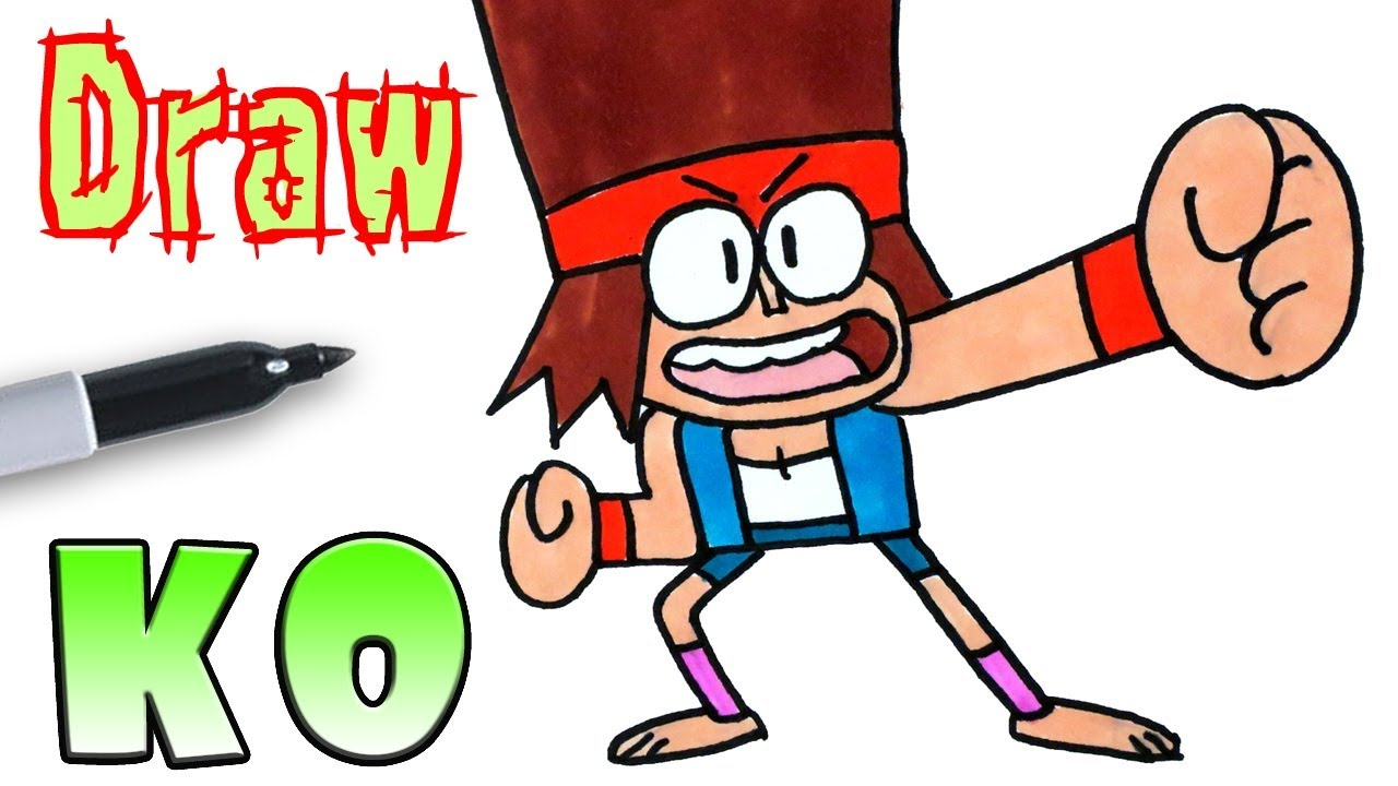 How To Draw K O Ok Ko Let S Be Heroes Cartoon Youtube