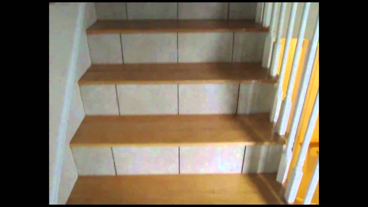 Tiled Stairs Risers And Basement Floor Youtube | Wood Stairs With Tile Risers | Color Scheme | Creative | Stair Outdoors | Grey | Tile Residential