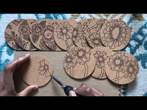 Using a Wood burning tool on Cork Coasters