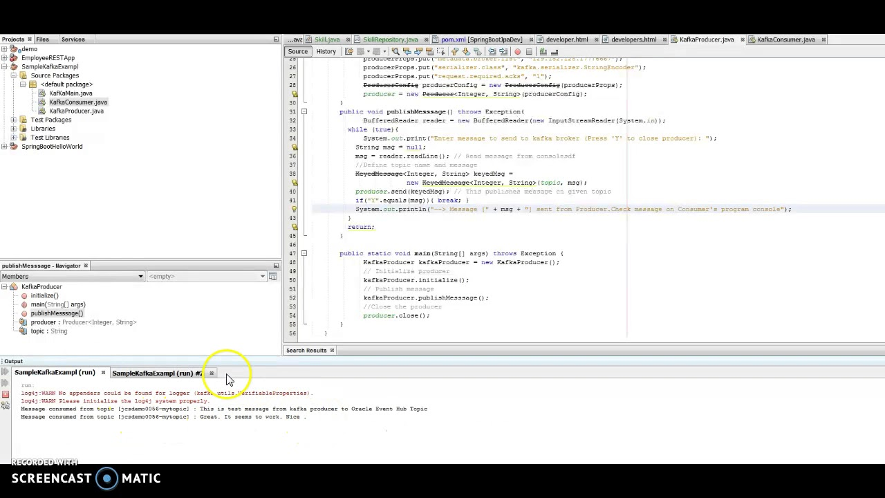 Kafka Producer And Consumer Example Using Oracle Event Hub Youtube