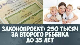 250 тысяч за второго ребенка до 35 лет законопроект