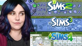 Sims 2 vs. Sims 3 vs. Sims 4 ~ Build \u0026 Buy Modes Comparison (Basegame)