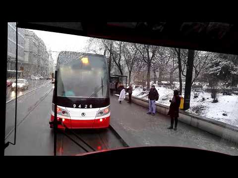 Prague snow tram line 18 (Vozovna Pankrac - Nadrazi Podbaba)