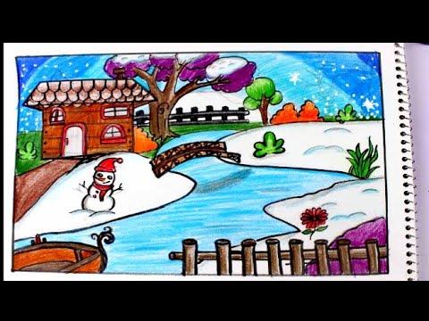 رسم منظر طبيعي لفصل الشتاء والمطرو الثلج للمبتدئين وللاطفال