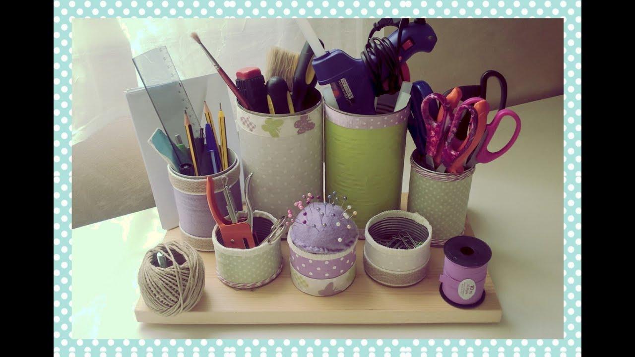 porta oggetti da scrivania fai da te desk organizer