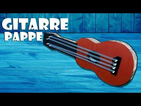 🎻 Instrument Gitarre aus Pappe basteln [RECYCLING] - paper guitar craft DIY [4K]