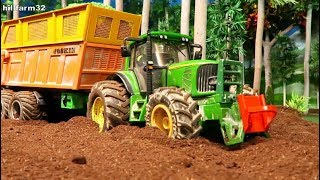Rc Tractors stuck in Mud on the Model Farm/Machinery&Farm vehicles in trouble/ Farm video with Toys