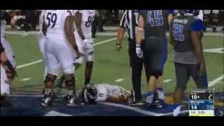 Gunner Kiel Left Motionless After Being Hit in The Head (9-24-15)