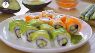 酪梨捲壽司| Avocado sushi (California Roll)|カリフォルニアロール|怎麼捲壽司|4K [Eng Sub]