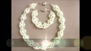 Wedding necklace and bracelet  Свадебное колье и браслет   Tutorial