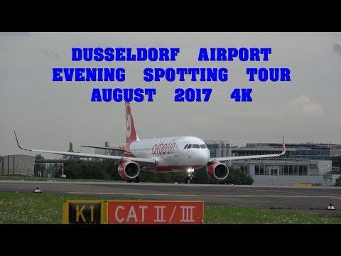 Dusseldorf Airport Evening Spotting Tour 4K - August 2017