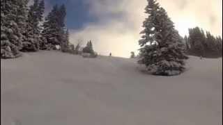 Andy and David skiing powder on Parsenn 12jan2013 Thumbnail