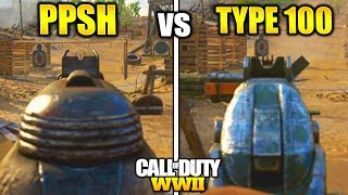 "PPSH vs TYPE 100 BEST SMG WW2! GUN STATS COMPARISON BEST GUNS COD WW2 ""TYPE 100 vs PPSH"""