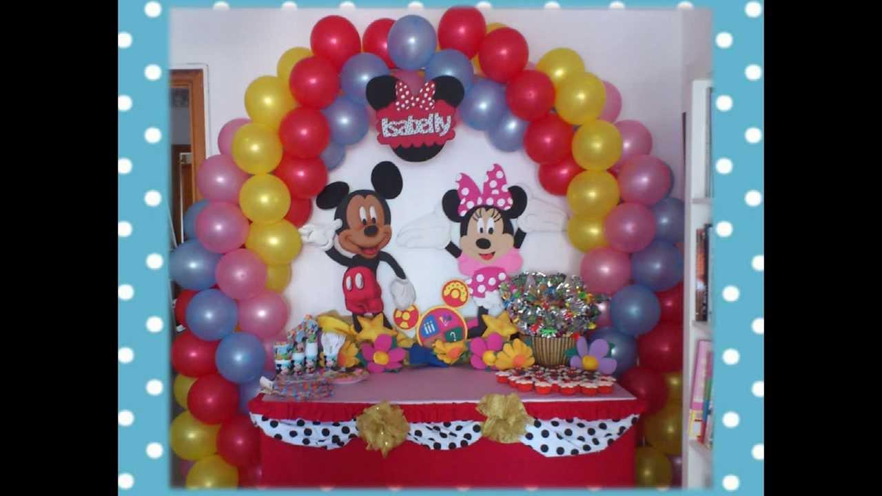 Mickey Mouse Decoraciones Para Fiestas ~ Decoracion infantil Mickey y Minnie  YouTube