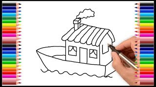 How to draw houseboat | Very simple drawing  houseboat | How to draw boat | Drawing for kids