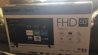 Sharp 50 inch Class LED 1080p Smart HD TV with built in Roku Unboxing Review Test
