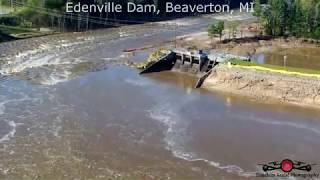 Michigan Dams failure Edenville, Michigan 2 Breached Dams 500 Year Flood Part 1 - 3 4K Drone Footage