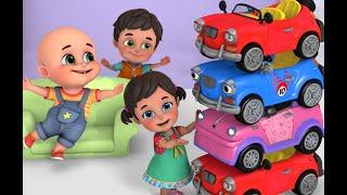 Five Little Cars doing race - Ninja Action | fire truck tractor cartoon | baby cartoon 3d animation