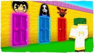 ¡NO ELIJAS LA PUERTA EQUIVOCADA! Bendy, Slendrina y FNAF Foxy en Minecraft