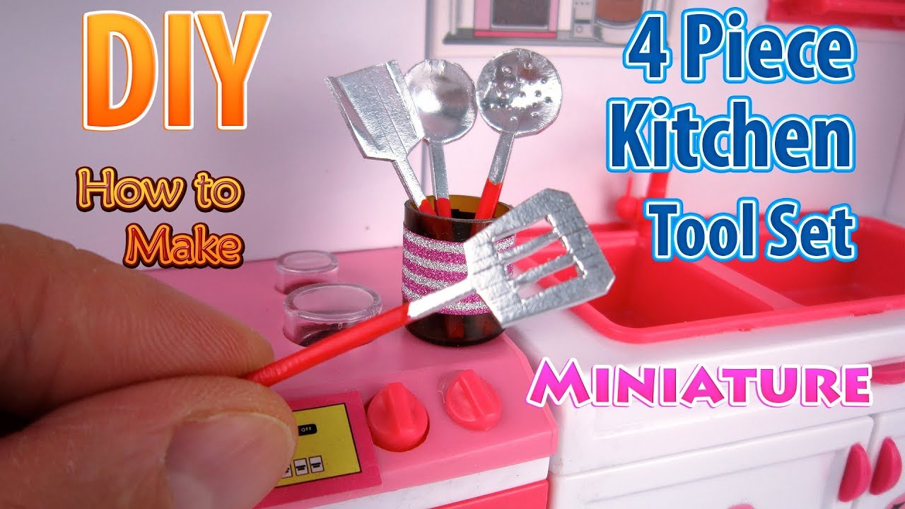 DIY Miniature Kitchen Tool Set | DollHouse | No Polymer ...