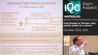 Alain Aspect - From Einstein to Wheeler: wave particle duality for a photon