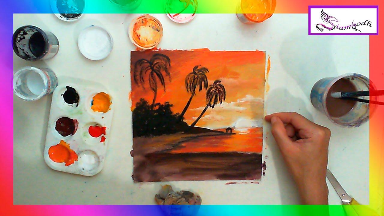 Como pintar un atardecer explicaci n para ni os youtube - Como pintar cuadros faciles ...