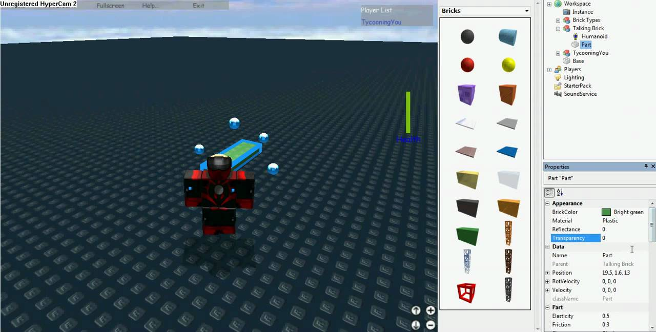 ROBLOX - How to make a talking brick with no health bar!