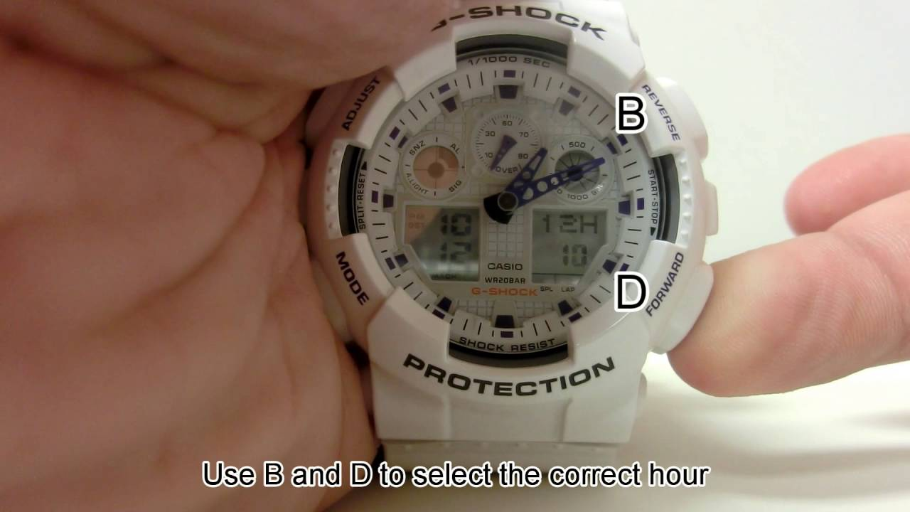How to set time on casio g-shock gd-100.