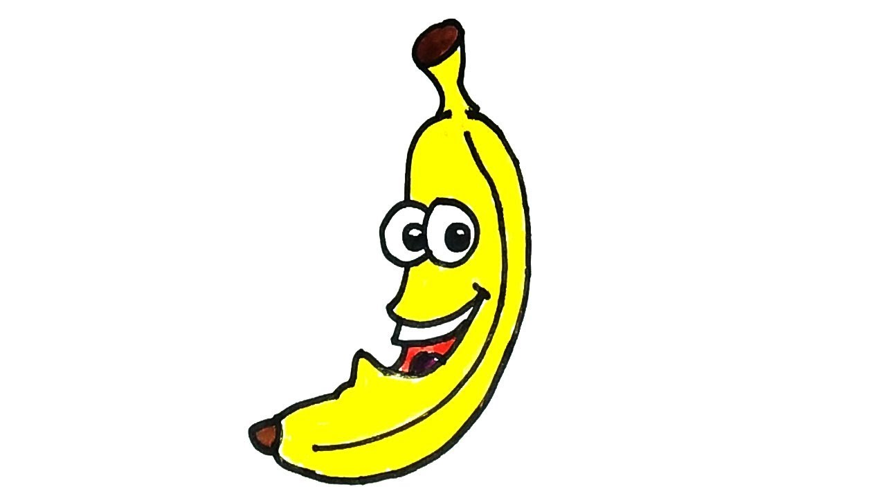 How To Draw A Cartoon Banana Easy Step By Step Drawing For Kids