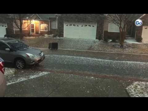 Damaging hail the size of golf balls fell in Greer, South Carolina, Tuesday, March 21, 2017.
