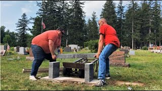 Setting a granite bench in Upstate NY