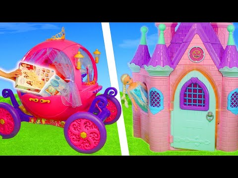 Disney Princess Carriage Toy Dolls: Rapunzel, Frozen Elsa, Cinderella, Ariel & Belle Doll for Kids