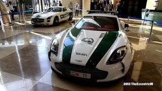 Dubai Police Exotic Supercar fleet on display at the DWTC - One-77, Bentley, Aventador and SLS AMG!
